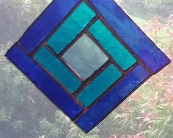 Stained Glass Suncatcher/Blue/Turquoise/Geometric Design/Handmade