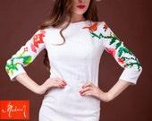 Hand Painted Dress | Midi Cocktail Dress | White Cotton Dress | Three Quarter Sleeve Dress | Pencil Dress | Ethnic Dress | Wedding Dress