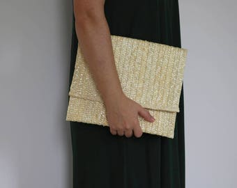 Straw clutch, handmade purse, vintage purse, summer handbag.