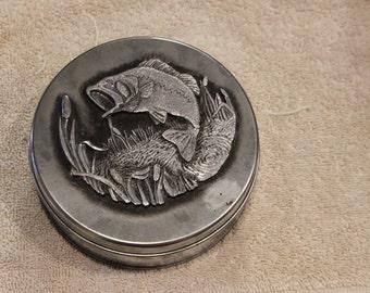 """Vintage Metzke 5"""" Pewter Fish tin"""