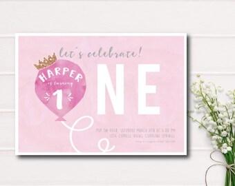 Pink Balloon First Birthday Printable Invitation, Girl 1st Birthday Party Invite, Balloon Birthday Printable Invitation, Pink Balloon, Girl