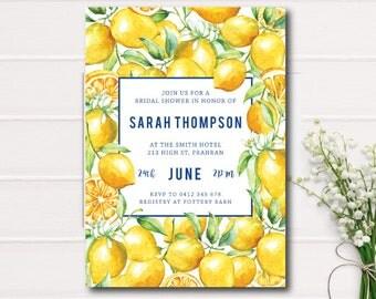 Watercolor Bridal Shower Invitation, Yellow Watercolor Bridal Shower Printable Invite, citrus Shower Invite, Garden Watercolor lemons Summer