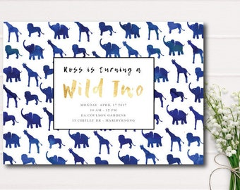 Wild One Jungle Animal Birthday Invitation boys, lion, elephant, giraffe, birthday invitation, printable invitation, 1st birthday, safari
