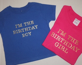 I'm The Birthday Boy Girl Shirt Blue Pink Gold Letters