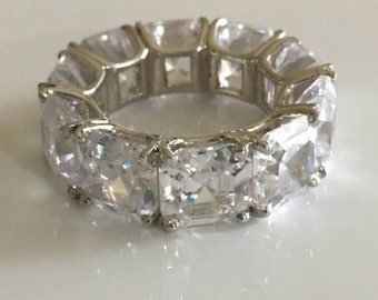 Asscher cut 8mm cz eternity ring sterling silver