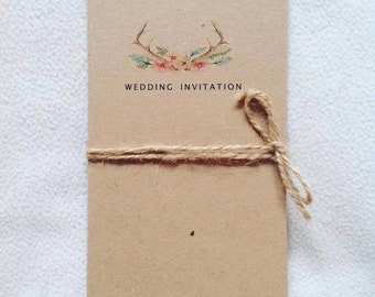 Rustic floral antler themed wedding invitation wedding stationery