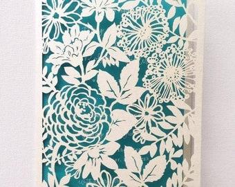 Lasercut floral themed wedding invitatation wedding stationery