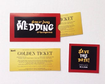 Golden ticket wonka themed wedding stationery quirky wedding invitations
