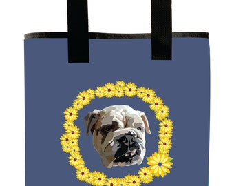 Reuseable Market Bag - Made from Recycled Materials - Eco-Friendly - Washable - Grocery Bag - English Bulldog - Flowers