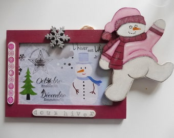 "Wall decoration ""snowman"" - carmine"