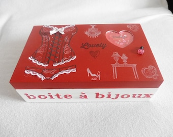 "Wooden jewelry box with mirror ""lingerie"" red and white"