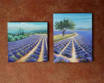 Special Offer Set of two paintings at a special price Lavander Fields Home decoration Oil Painting Canvas Art Original Landscape Painting
