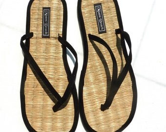 Flip-Flops of rice straw with thong black velvet (4.5-13.5)
