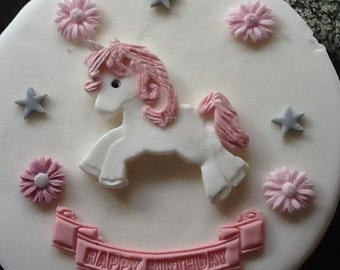 Unicorn cake topper edible sugarpaste flowers and banner birthday decoration
