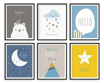 Nursery print, Nursery print set, Nursery set of 6, Nursery modern print set, Boy nursery, Twinkle Twinkle Little Star, Raindrops, Moon star