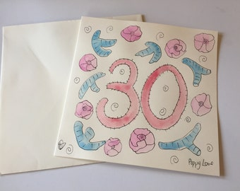 30th birthday card // Unique Watercolour Card // Birthday Card // Anniversary Card // Valentine's Card // Wedding Card // Easter