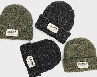 "Manna Wool Speckled Olive Green or Black Beanie. Hand Stitched Front Patch ""One Nature - Manchester"" Box Logo Supreme Streetwear Stussy Huf"