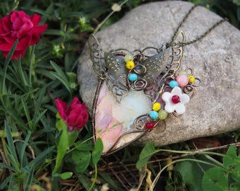 Flower and Butterfly pendant