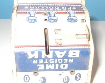 Tin Dime Register Bank lithograph works great  collectible vintage toy