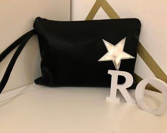 Vegan leather clutch with stella