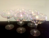 5 Bubble Iridescent champagne glasses