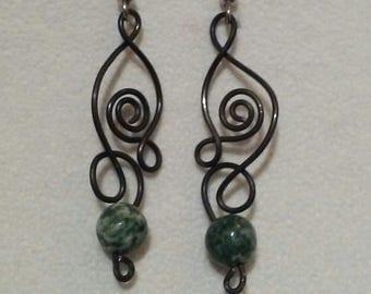 Black wire & moss agate earrings