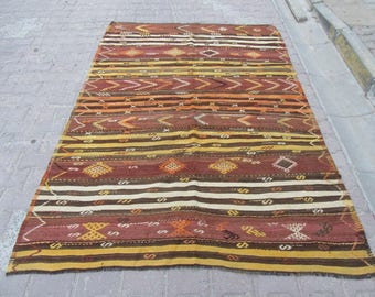 5.8x8 Ft Yellow,red,black,white striped vintage embroidered Turkish kilim rug