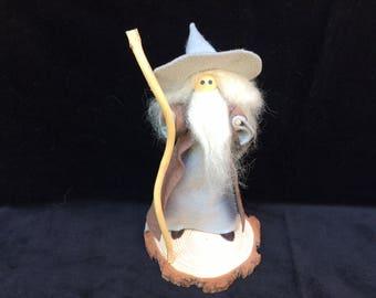 Wise Old Wizard Doll Collectible, Art Doll, Fairy Wizard Beard and Hat, Wizard Doll, Wizard Miniature, Fairy Garden Wizard, Felt Wizard.