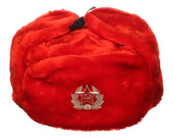 Russian / USSR Army Winter Red Fur Ushanka Hat + Soviet Red Star Badge Sizes S,M,L,XL,XXL