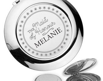 Personalised engraved MAID OF HONOUR compact mirror wedding thank you gift idea, handbag mirror - DA3