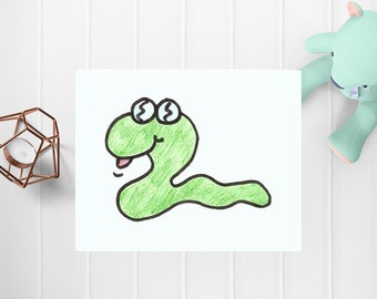 Green Snake Digital Art, Digital Art, Printable Art