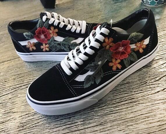 Custom vans shoes black old skool or sk hi with rose