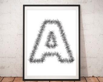 Letter A Print, Fluffy Letter Print, Modern art, Minimalist, Typography, Monogram Print, Custom Letter, Art Print, Desk Print, Alphabet Art