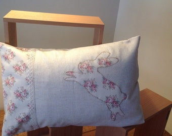 Cushion cover, Pink floral jumping Rabbit