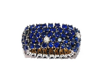 Ring white gold 18K flexible adorned with sapphires