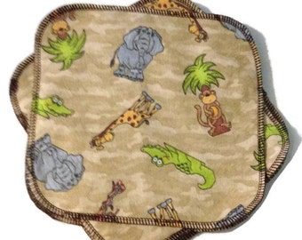 Safari Cloth Wipes - Set of 6 - 8x8 - Reusable - 2ply Flannel- Ready to Ship