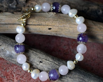 "Amethyst, Pearl & Rose Quartz Beaded Bracelet - Charkra, Gemstone, Crystal 7.5"""