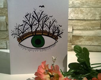 Hand drawn Eye of the forest card