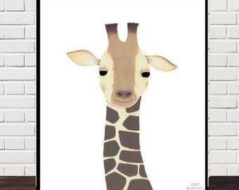 giraffe nursery painting/giraffe print/giraffe painting/giraffe illustration/Nursery Decor/fox baby wall art/kids decor/Scandinavian prints