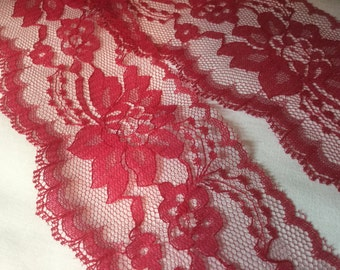 """Wine Red Lace 3"""" wide"""