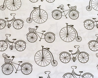 Half metre (0.5m) cotton fabric, bicycles fabric, bicycles pattern, vintage fabric, black and white fabric, bicycles pattern
