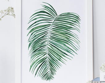 Botanical Fern leaf print, Fern print, Fern leaves printable, Plant print wall art printable, Leaf wall art botanical poster nature print.