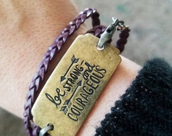 """Purple genuine leather braided wrap around bracelet with  """"Br Strong and Courageous""""charm"""