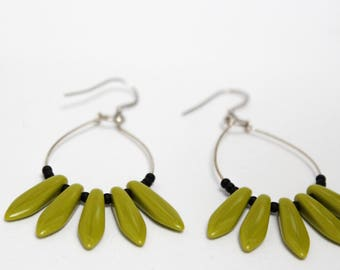 Drops earrings - olivine and Black - Silver 925