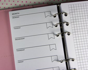 Undated Weekly Planner Inserts, Week On 1 Page, Grid, Printed Planner Inserts Personal Size, WO1P, Dated Horizontal Refills, #HSU26 PN