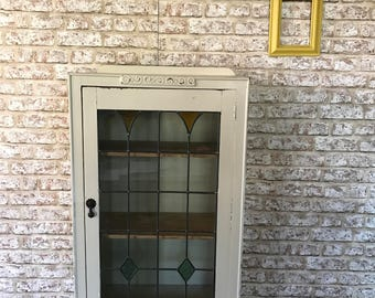 Elegant  Deco China Cabinet Buffet with Stained glass