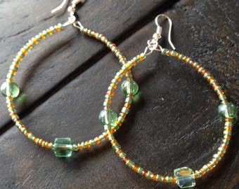 Mint Green and orange beaded hoop earrings