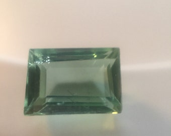 Pale green rectangular tourmaline gemstone