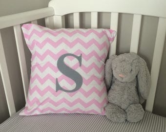 Personalised Pink Chevron Cushion, Initial Cushion, Envelope Cushion, Girl's Bedding, Nursery Bedding, Kids Bedding, Kids Cushion