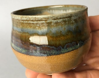 Blue and Brown Stoneware Tea Cup